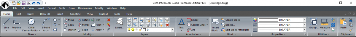 IntelliCAD Ribbon UI with drop-down menu