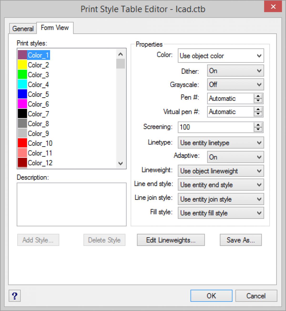 IntelliCAD Print Style Table Editor